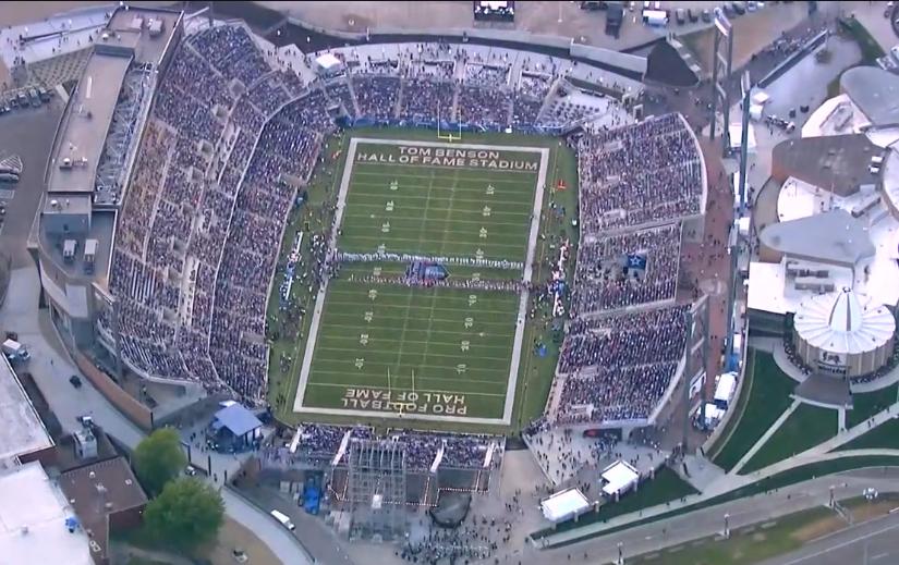 Birdseye aerial shot Canton Hall of fame NFL